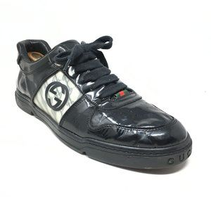 Gucci GG Shoes Sneakers Size 8.5/9 US Black Patent
